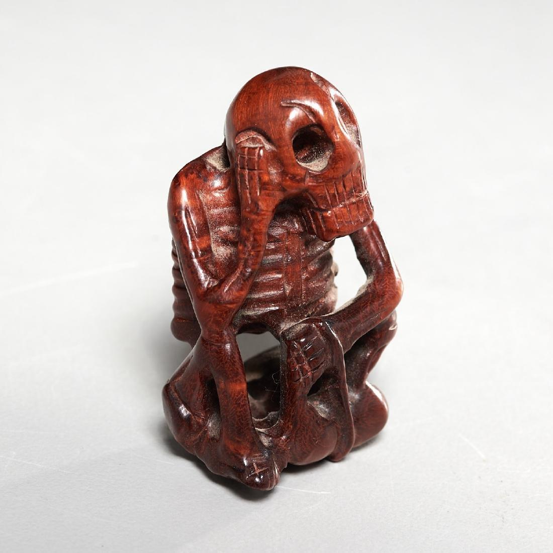 (2) carved wood netsuke - 5