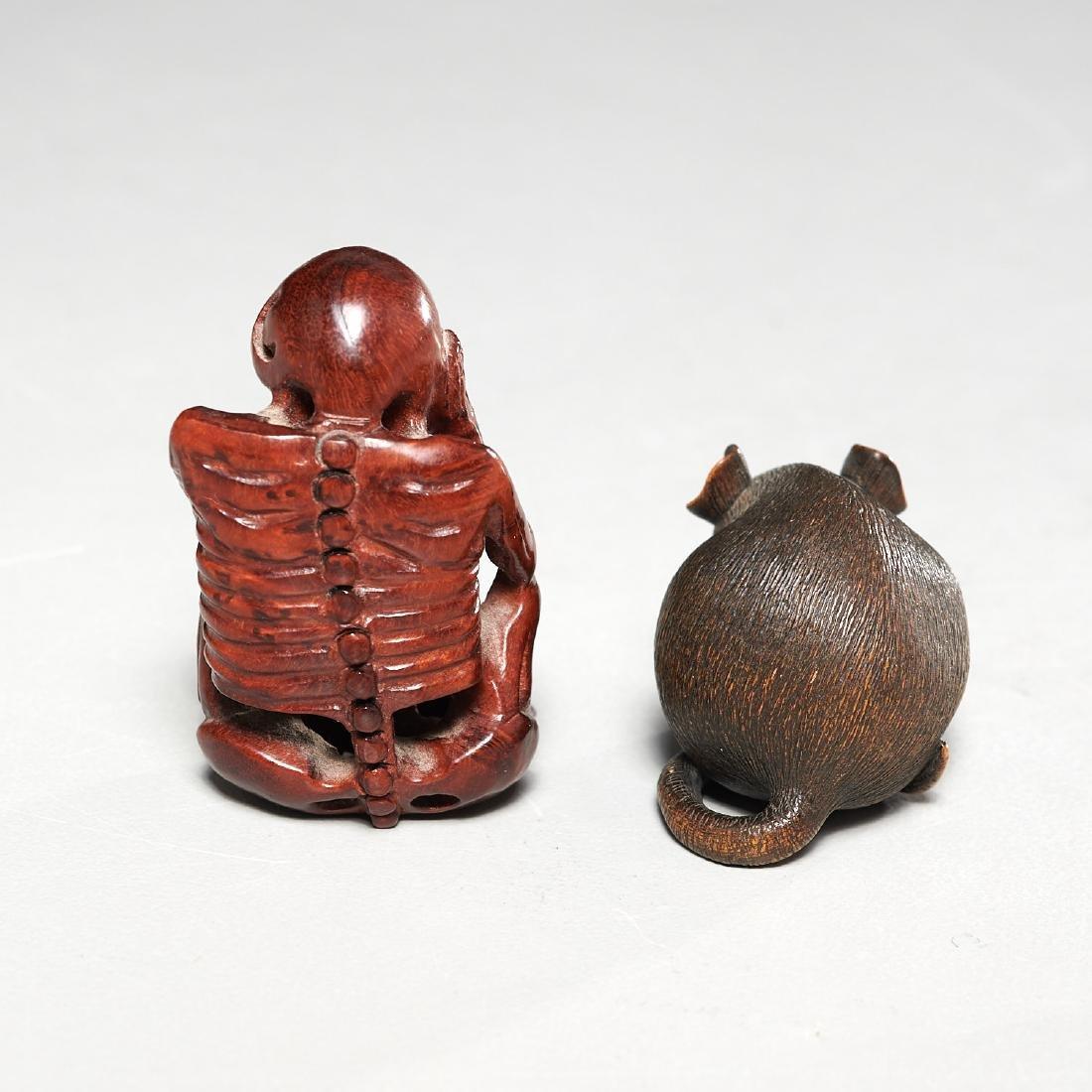 (2) carved wood netsuke - 7