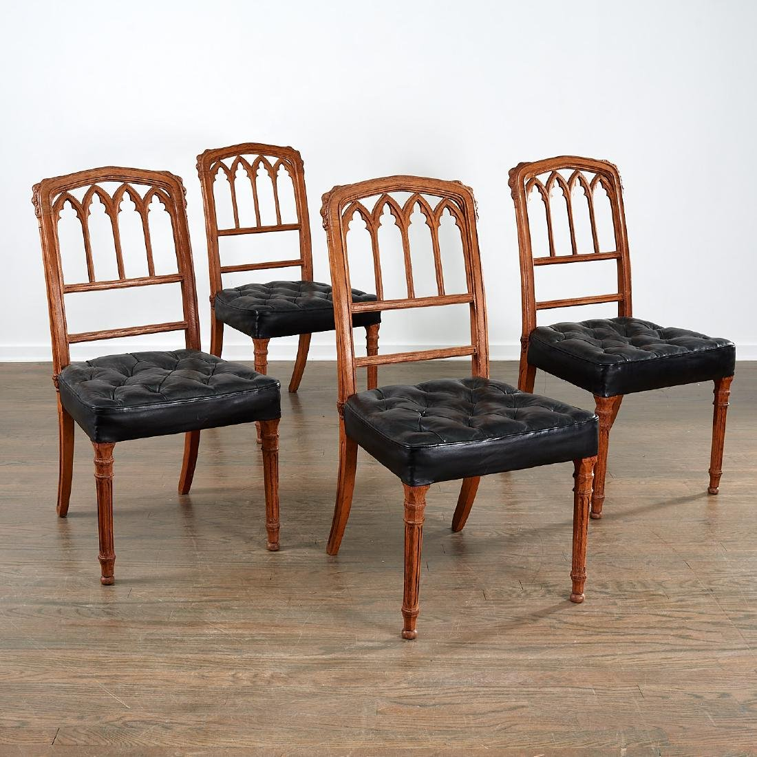 Set (4) Victorian Gothic Revival side chairs