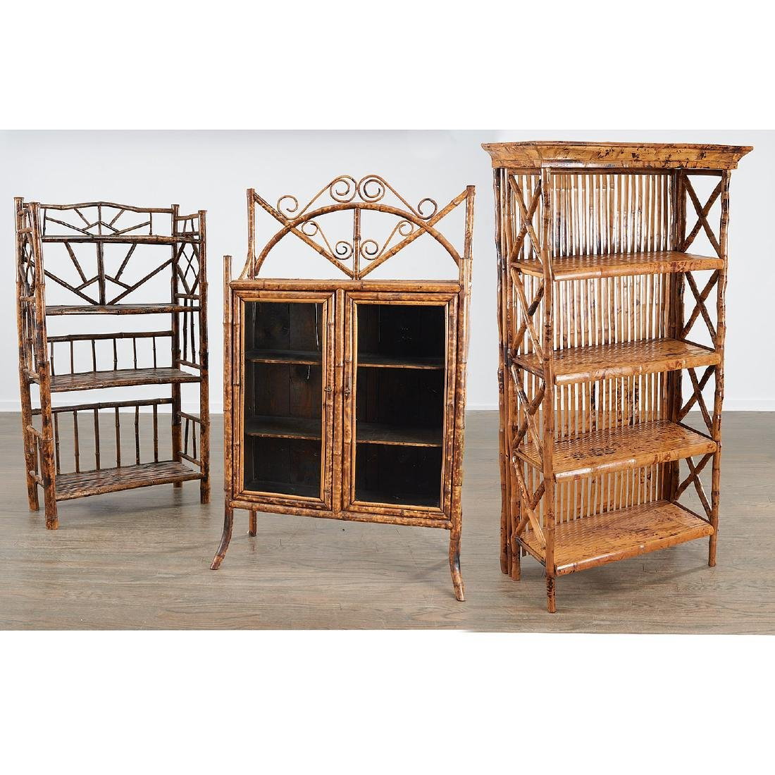 Victorian style bamboo cabinet and etagere