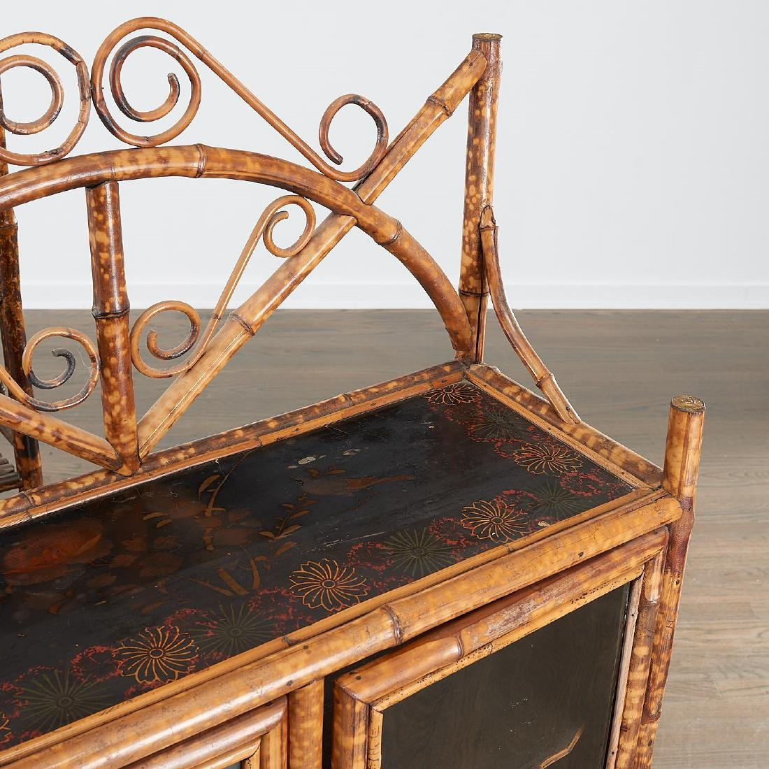 Victorian style bamboo cabinet and etagere - 2