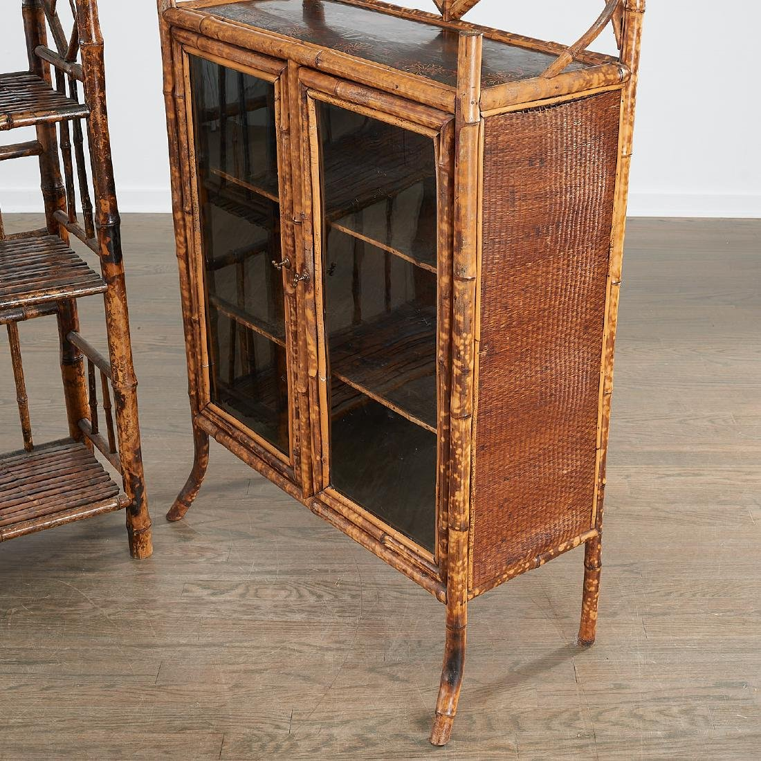 Victorian style bamboo cabinet and etagere - 3