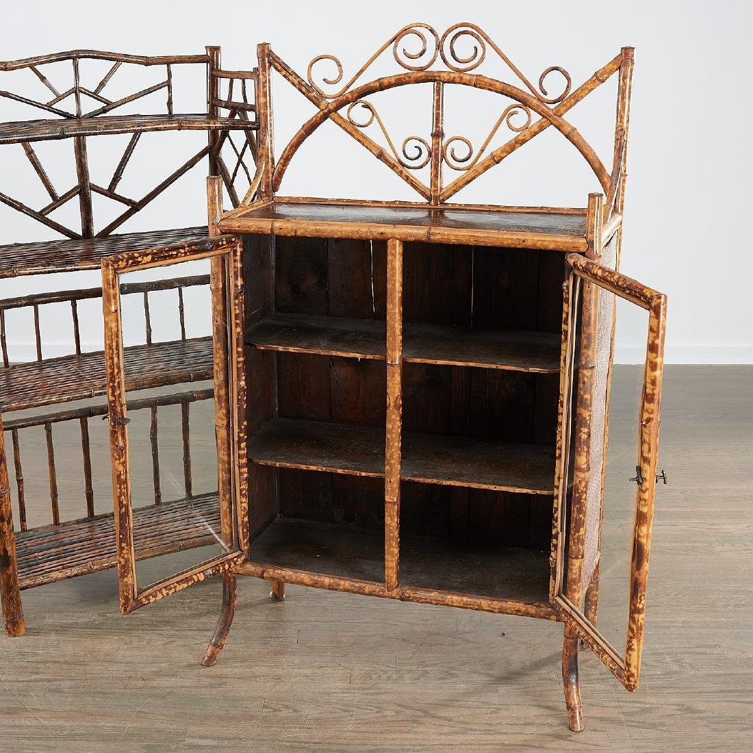 Victorian style bamboo cabinet and etagere - 4