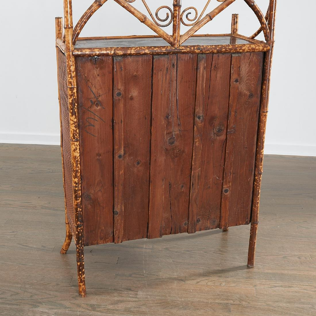 Victorian style bamboo cabinet and etagere - 5