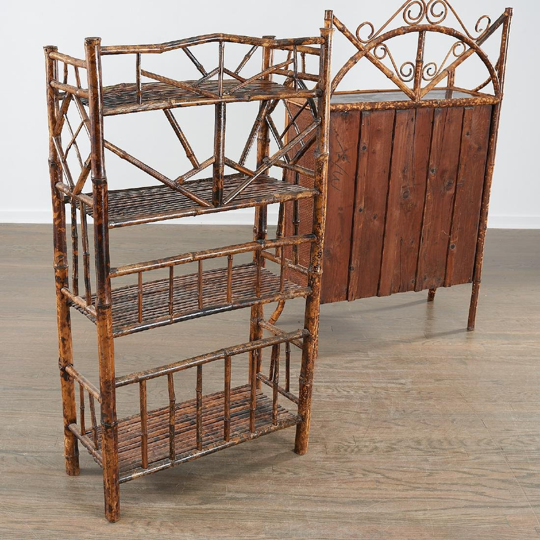 Victorian style bamboo cabinet and etagere - 7