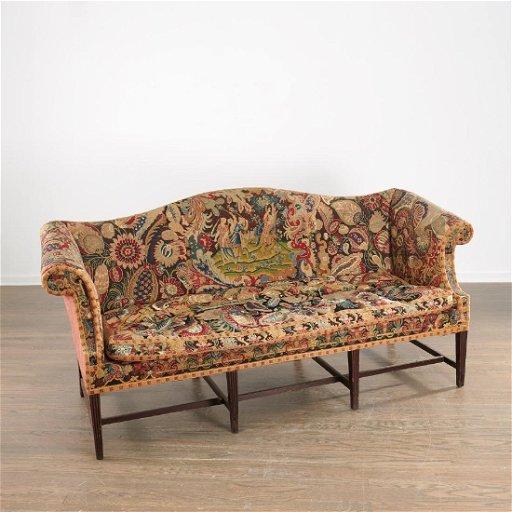 Mahogany Camelback Tapestry Sofa