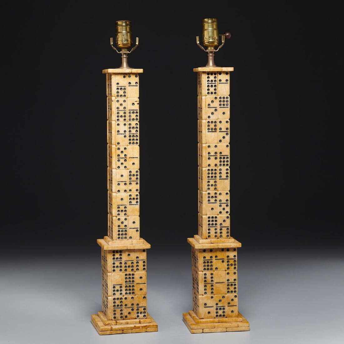 "Pair designer ""Domino"" table lamps"