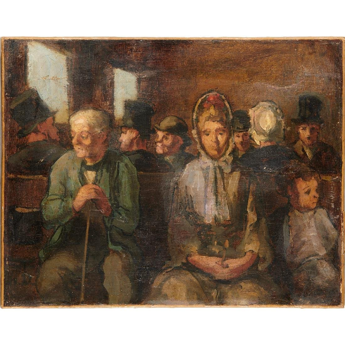 """Honore Daumier(attrib), """"Third Class Carriage"""", c. 1862"""