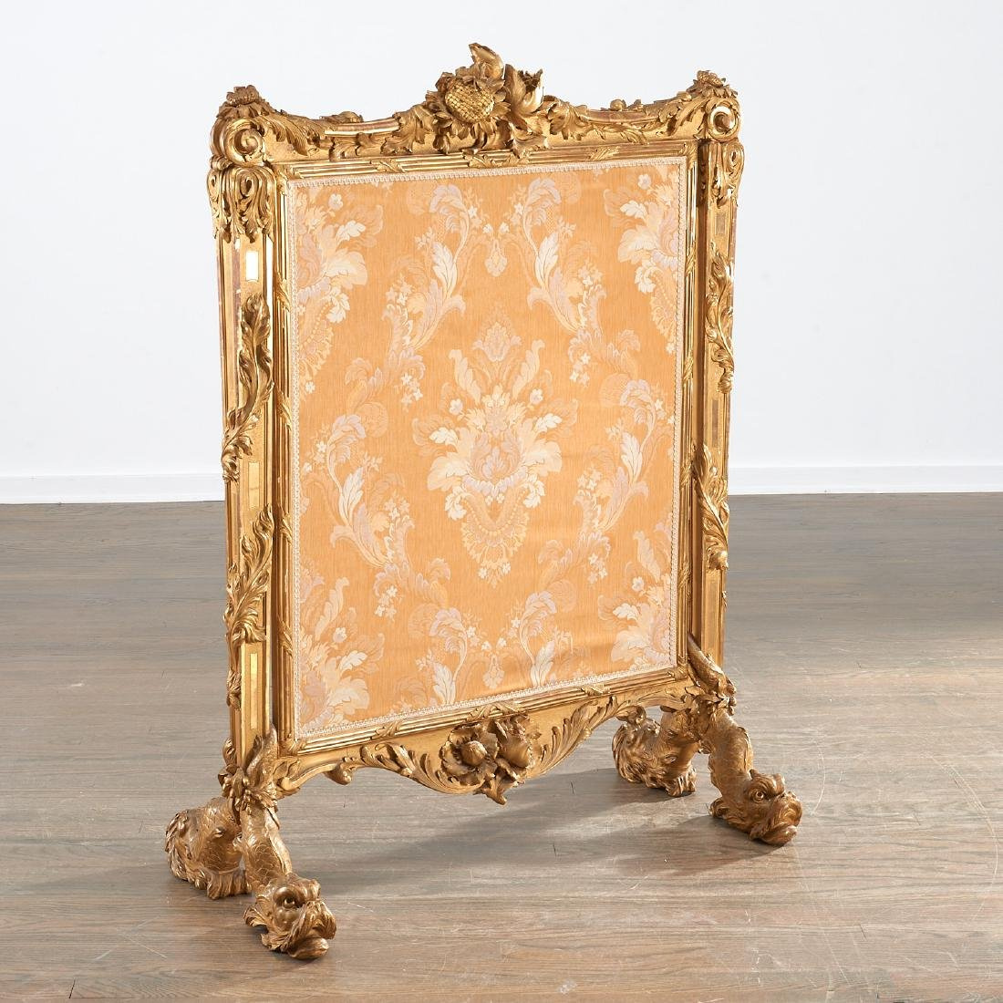 Fine and large Louis XV giltwood fire screen