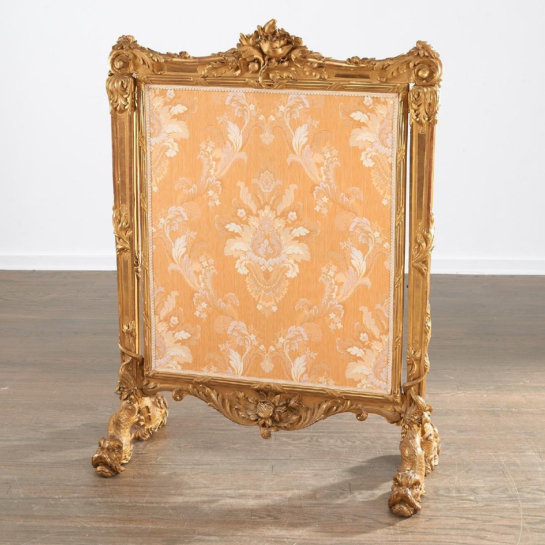 Fine and large Louis XV giltwood fire screen - 7