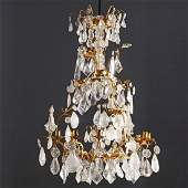 Louis XV style bronze and rock crystal chandelier