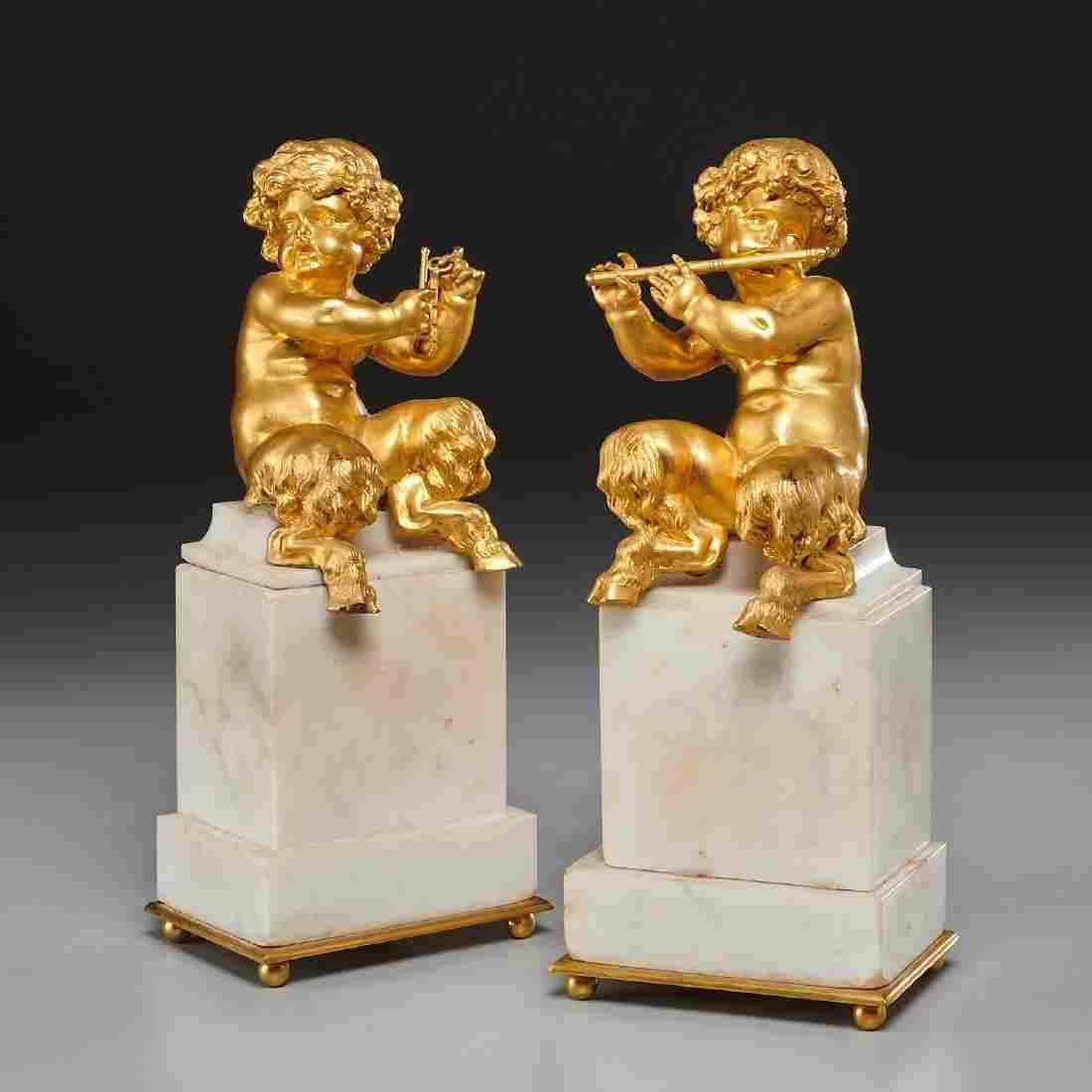 Pair Louis XVI style gilt bronze child satyrs
