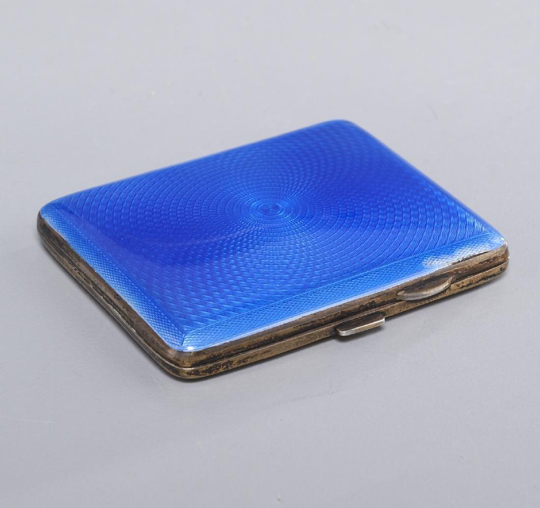English silver and guilloche enamel cigarette case