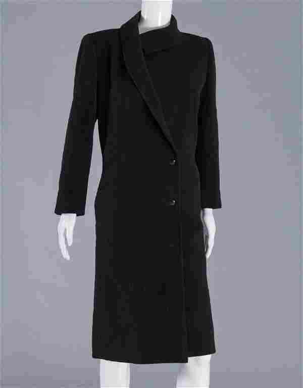 Emanuel Ungaro ladies black wool cashmere coat