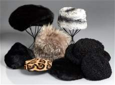 Group of ladies vintage fur hats