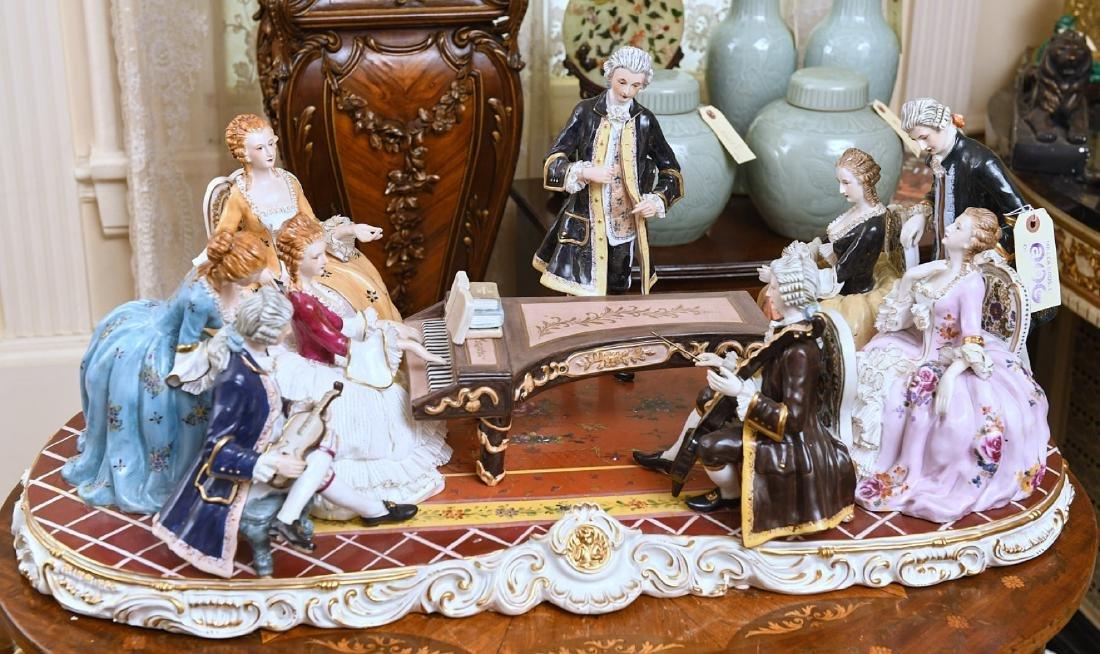 Huge Dresden hand-painted porcelain plateau group