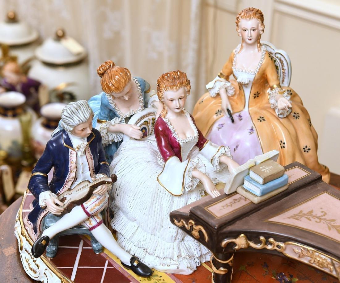 Huge Dresden hand-painted porcelain plateau group - 4