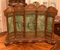 Chinese carved wood and hardstone table screen