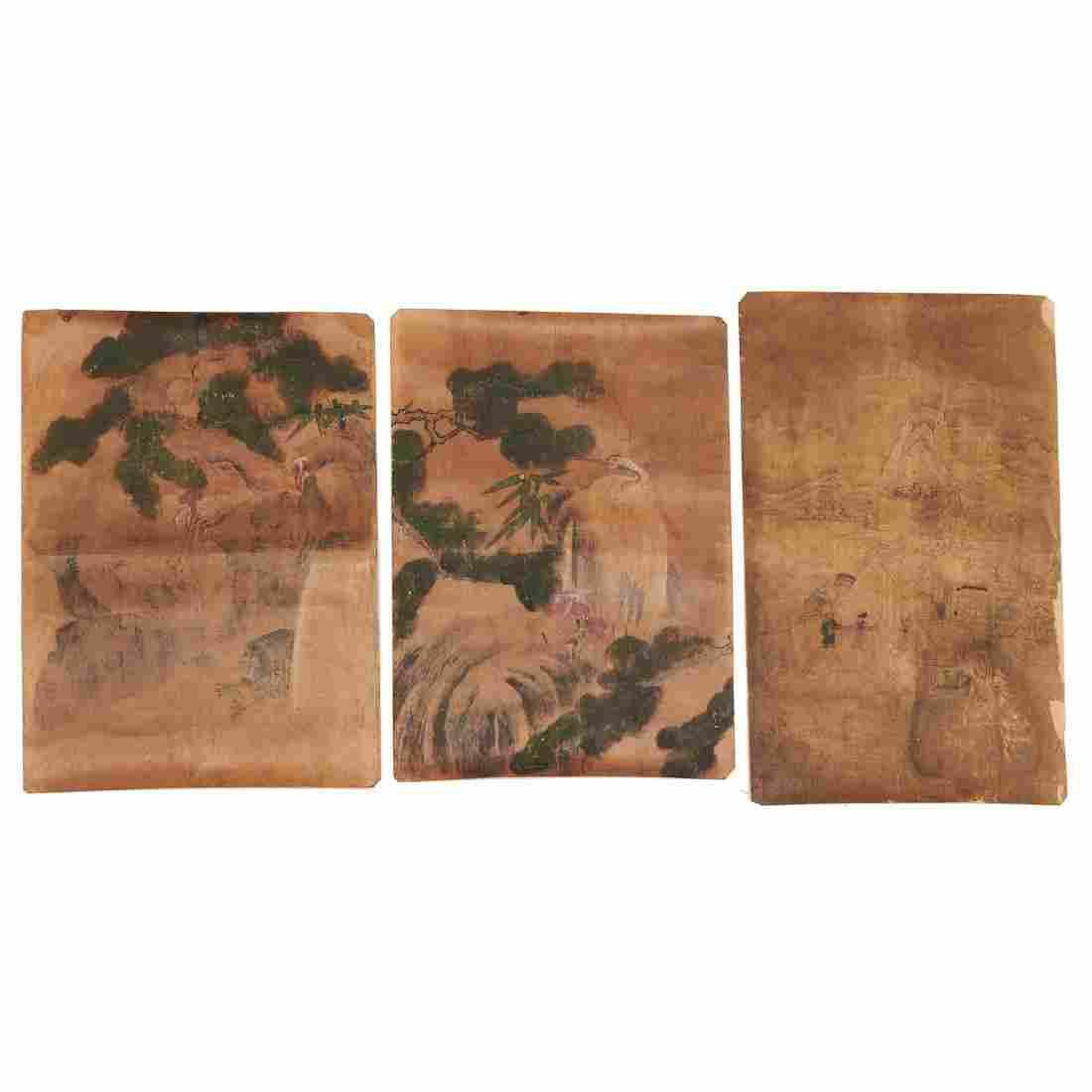 Chinese School, (3) paintings