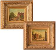 Continental School, (2) village scene paintings