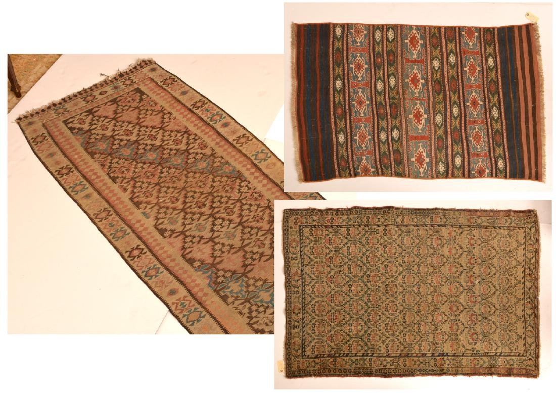 (2) Vintage Persian carpets and (1) runner