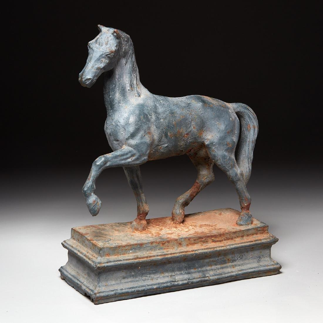 Cast iron horse figure on pedestal