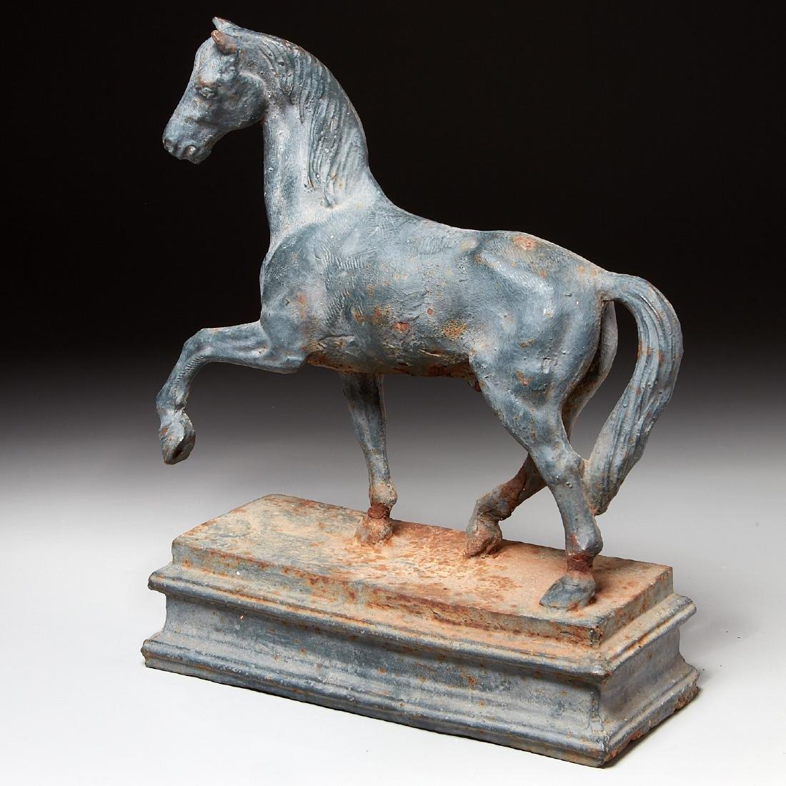 Cast iron horse figure on pedestal - 2
