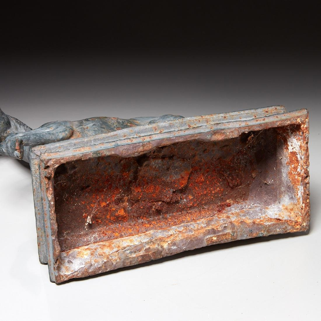 Cast iron horse figure on pedestal - 6
