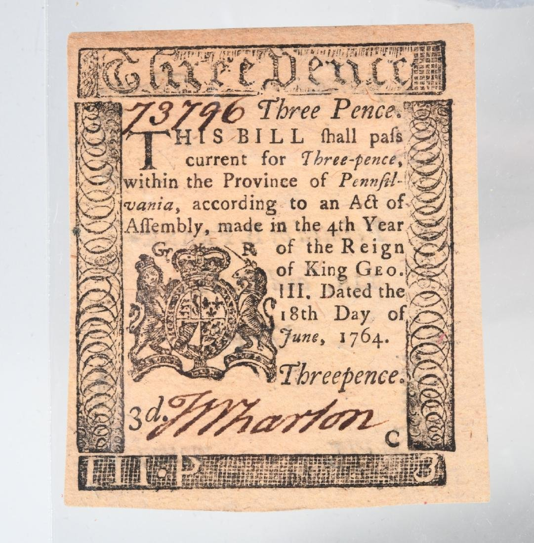 1764 Colonial Note, printed by Ben Franklin