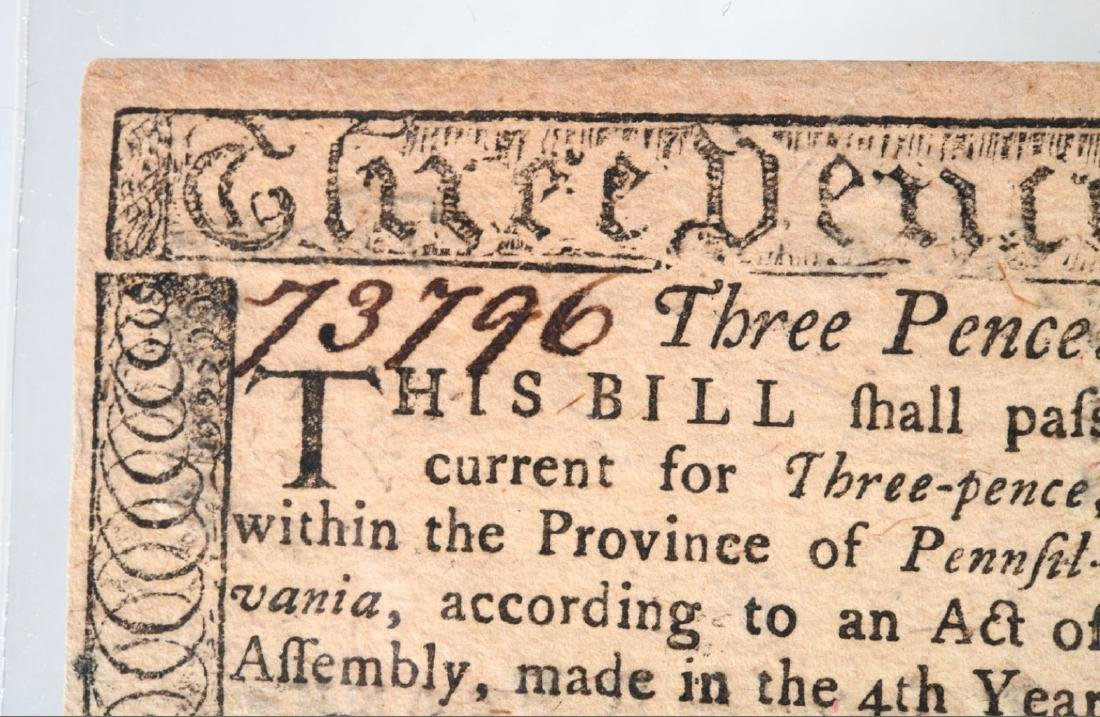 1764 Colonial Note, printed by Ben Franklin - 2