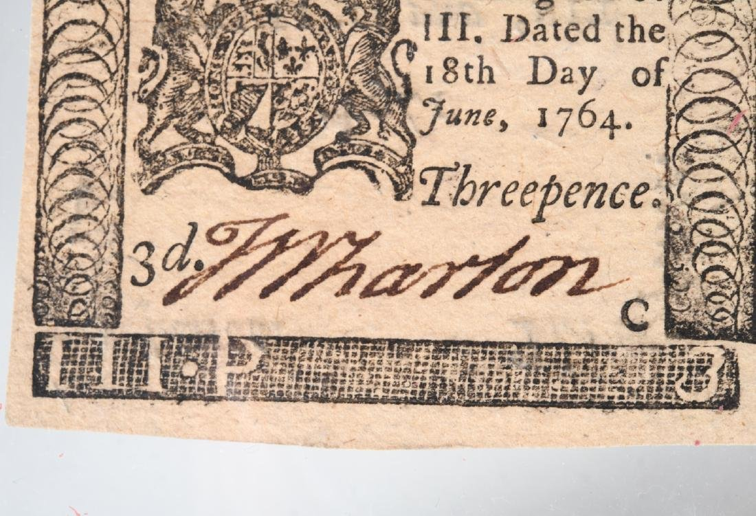 1764 Colonial Note, printed by Ben Franklin - 3