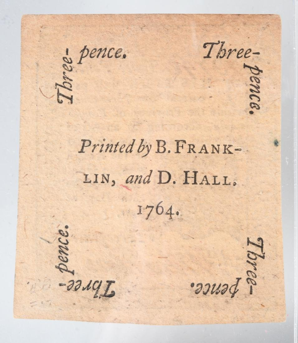 1764 Colonial Note, printed by Ben Franklin - 4