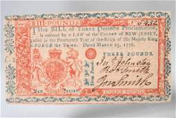 1776 Colonial Note, Three Pounds, New Jersey