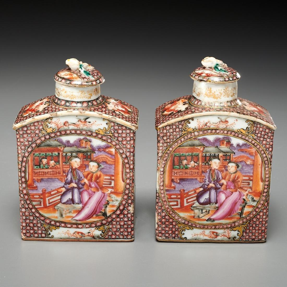 (2) Chinese Export Rockefeller pattern tea caddies