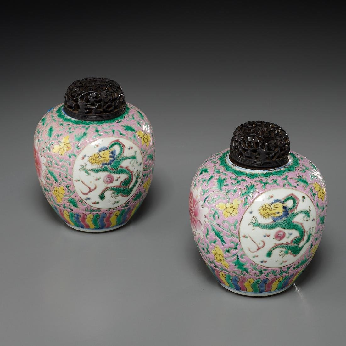 Pair Chinese famille rose porcelain jars