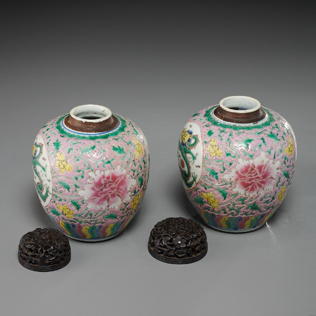 Pair Chinese famille rose porcelain jars - 4