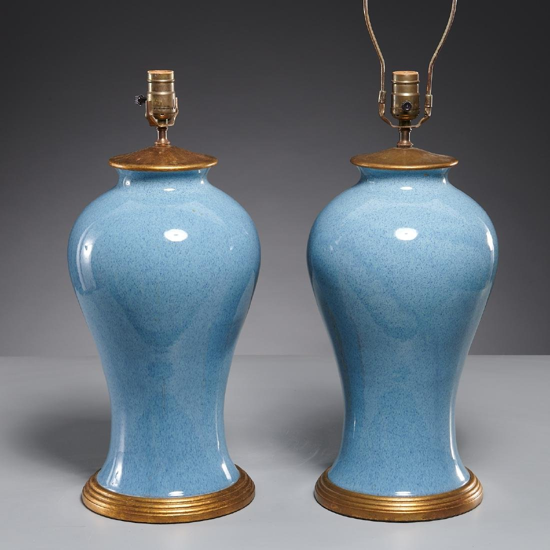Pair Chinese porcelain meiping jar lamps
