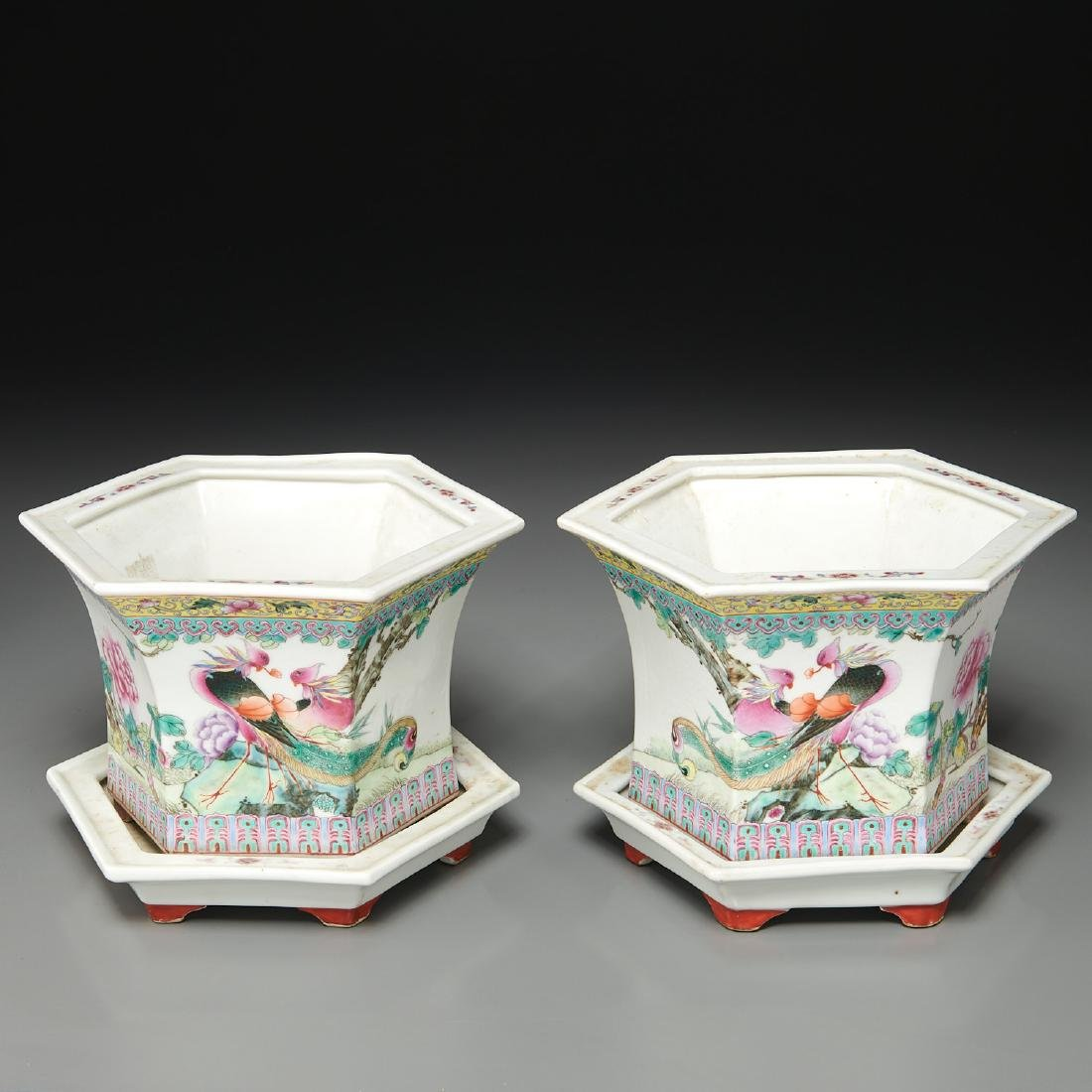 Pair Chinese famille rose porcelain jardinieres