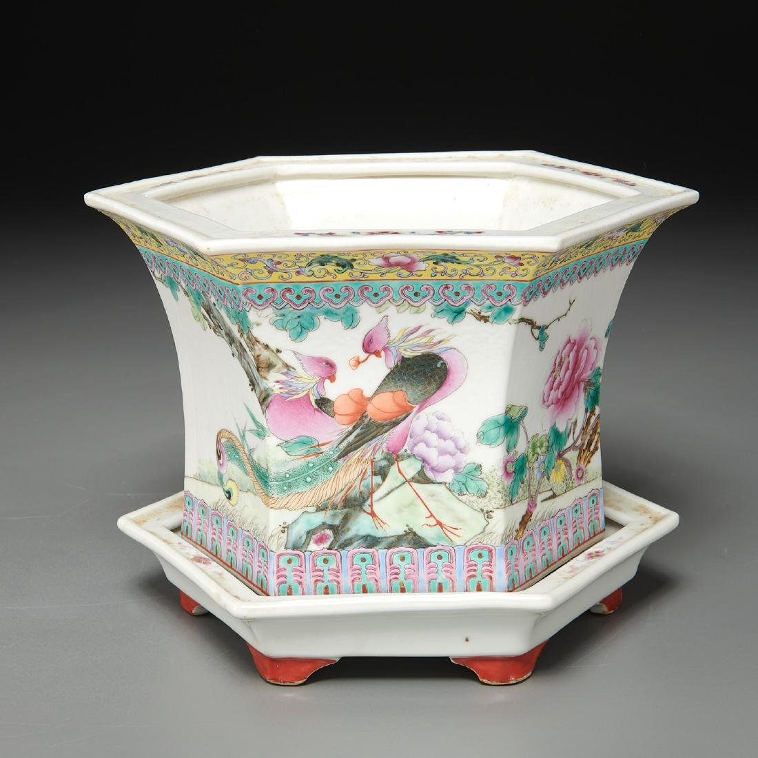 Pair Chinese famille rose porcelain jardinieres - 2