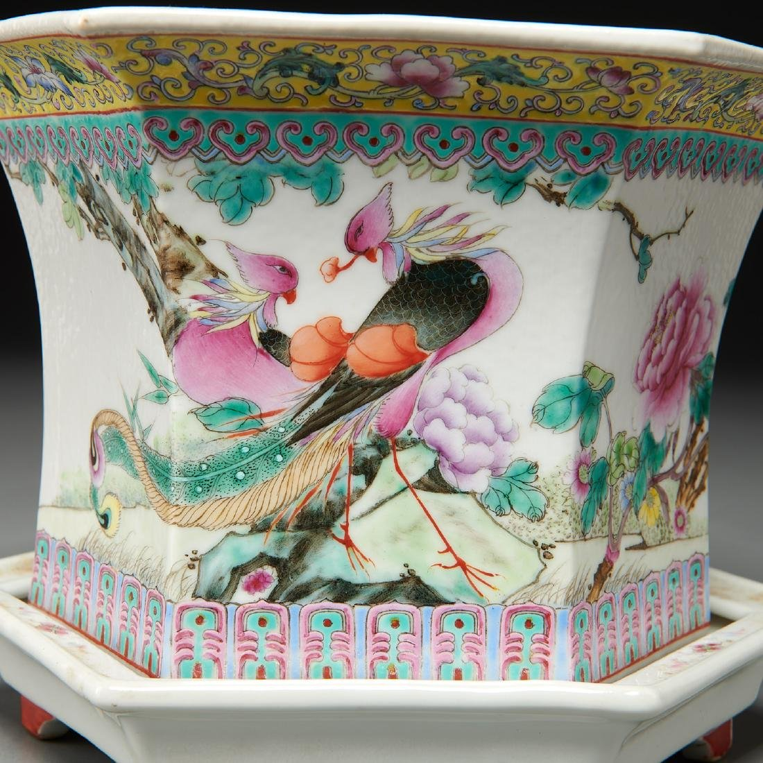 Pair Chinese famille rose porcelain jardinieres - 3