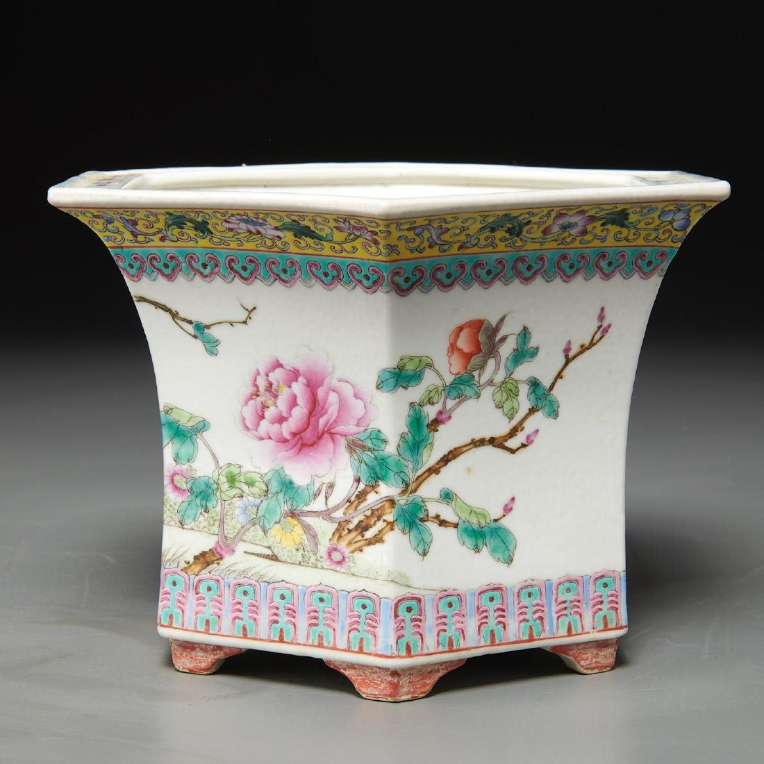Pair Chinese famille rose porcelain jardinieres - 7