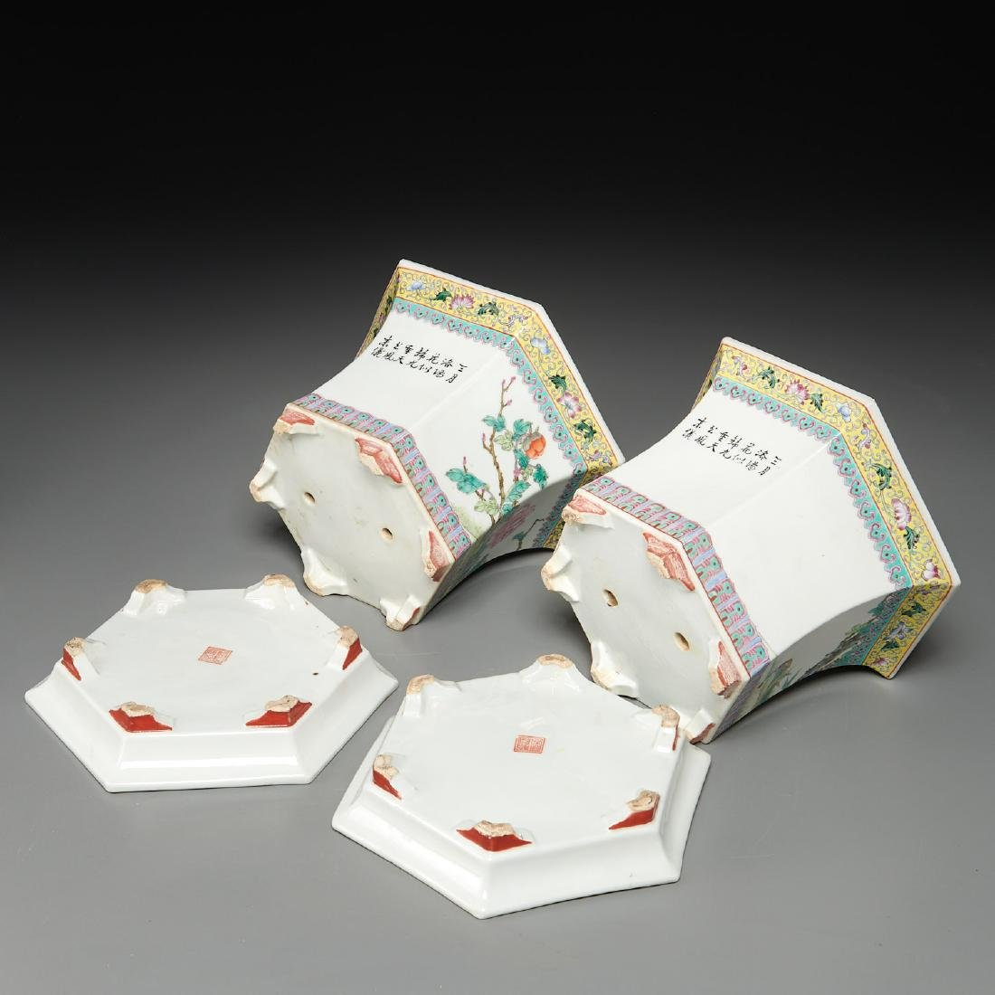 Pair Chinese famille rose porcelain jardinieres - 9