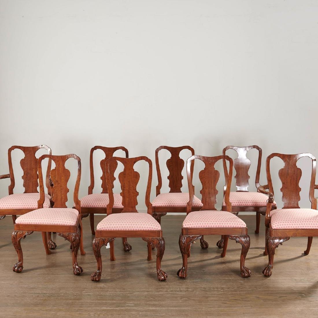 (8) George II mahogany fiddleback chairs