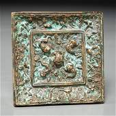 Old Chinese Tang style silvered bronze mirror
