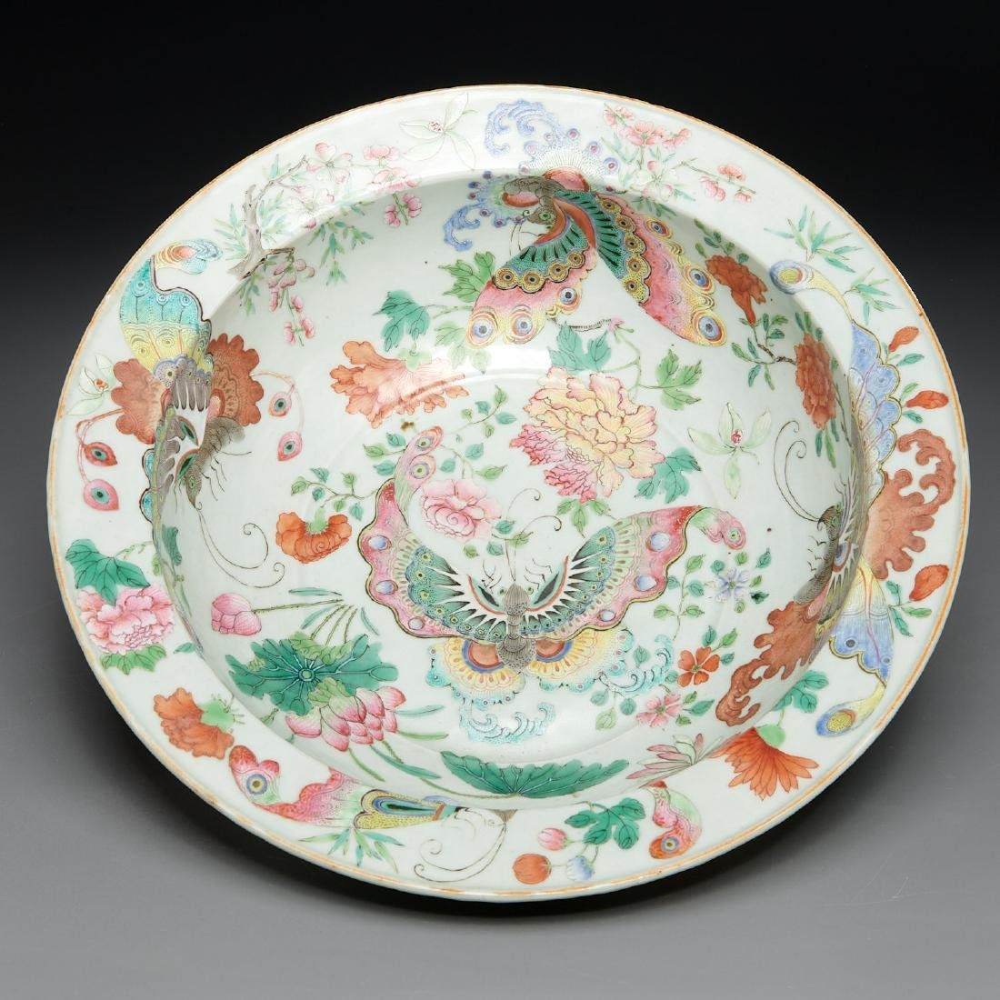 Large Chinese porcelain butterfly bowl