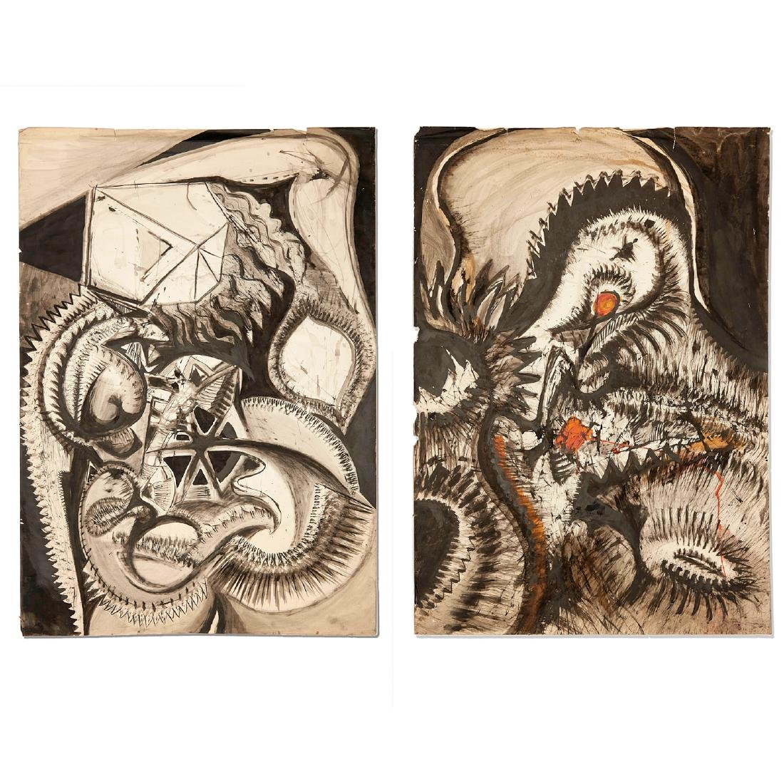 Jean Jacques Lebel, diptych drawing, 1958