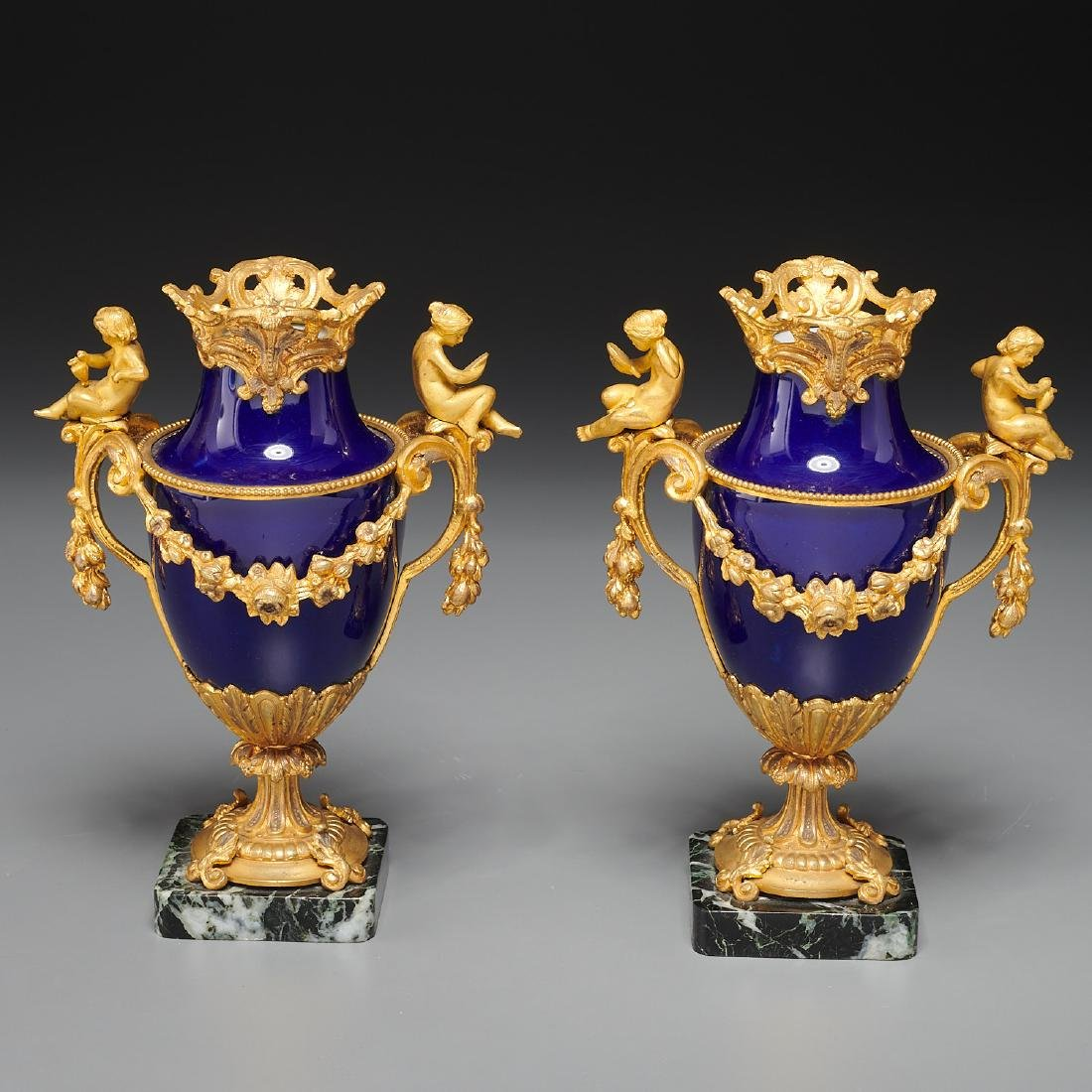 Pair French Empire style bronze mounted urns