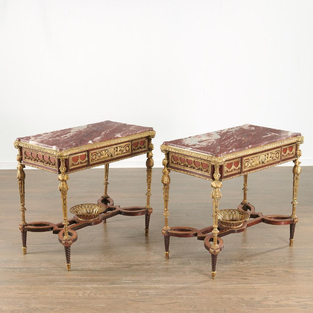 Pair Louis XVI style marble top side tables
