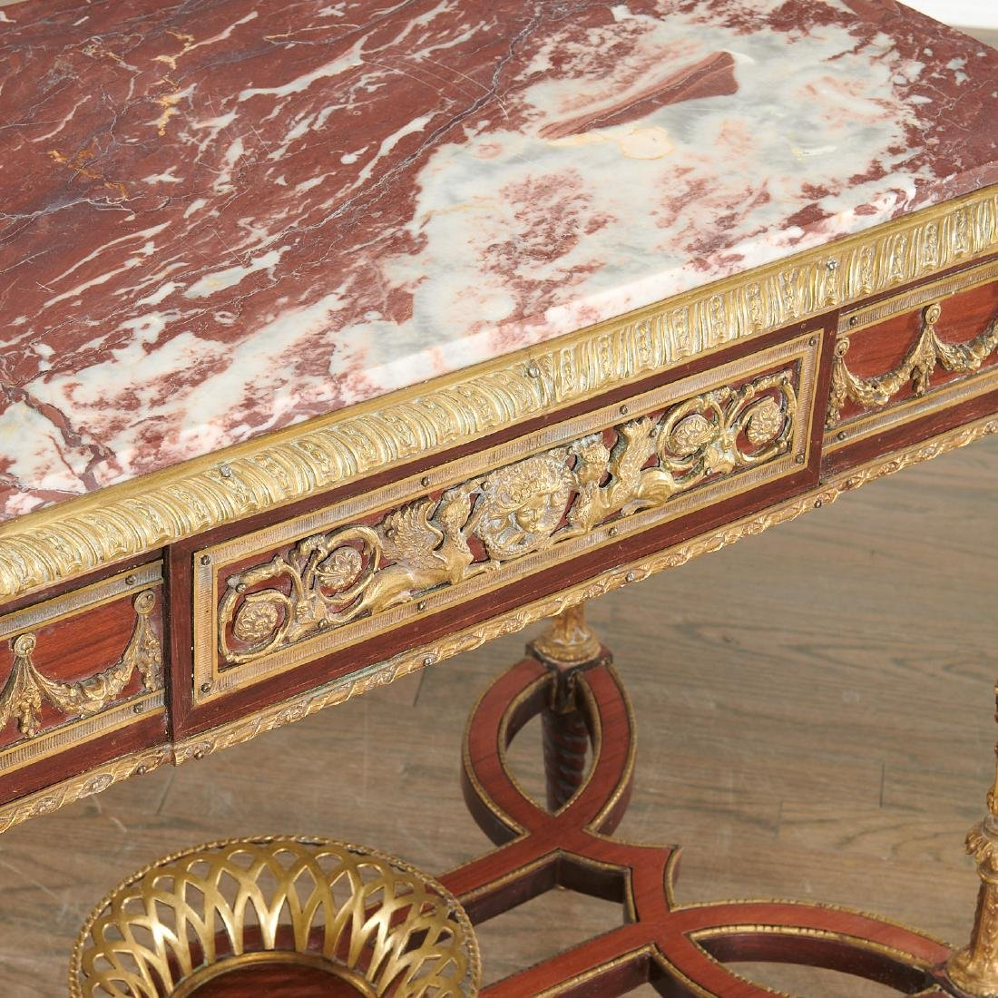 Pair Louis XVI style marble top side tables - 7