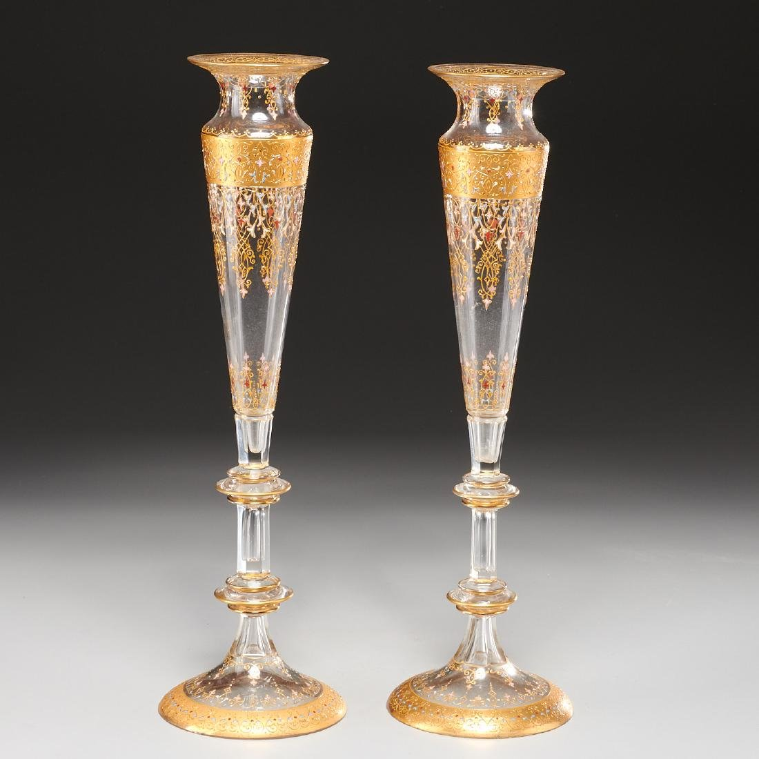 Nice pair Bohemian gilt glass trumpet vases